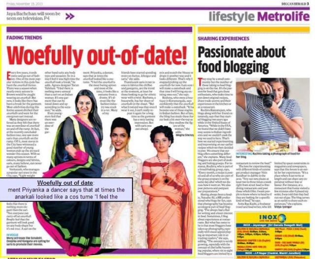 Deccan Herald Metrolife Nov 15, 2013