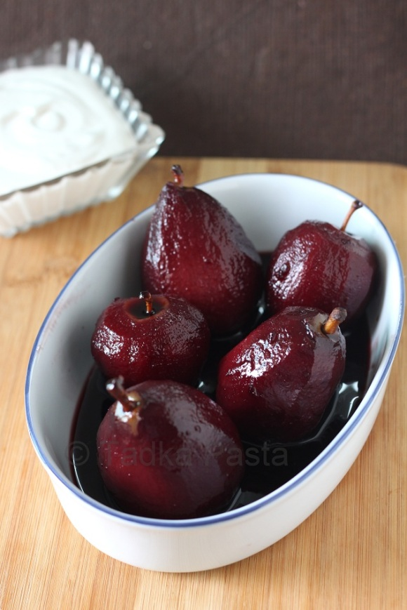 Red wine poached fruit pears apples