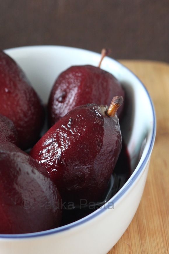 Red wine poached fruit